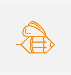 Bee and pencil line logo design vector