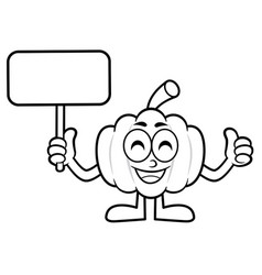 Black and white pumpkin mascot picket and thumb vector