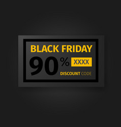 Black friday 90 percent discount coupon vector