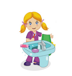 blonde baby girl character brushing teeth in bath vector image