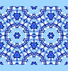 Blue flower kaleidoscope pattern vector