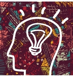 Brain creative head business idea art icon and vector image