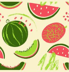 brush grunge watermelon fruits seamless pattern vector image