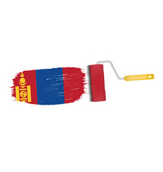 Brush stroke with mongolia national flag isolated vector