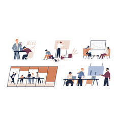 Business problem flat set vector