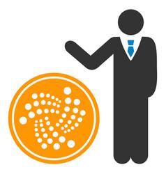 Businessman show iota coin flat icon vector