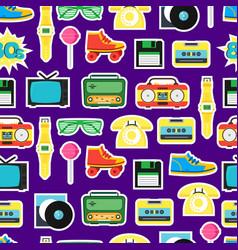cartoon eighties style symbol background pattern vector image