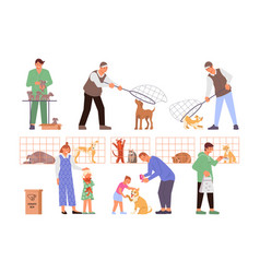 catching sheltering animals composition vector image