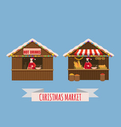 Christmas market stalls canopy seller with with vector