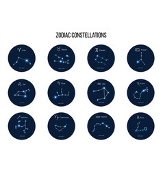 Collection zodiac constellations and horoscope vector