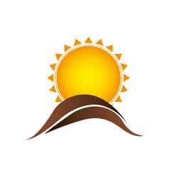 color sun with brown mountain icon vector image vector image