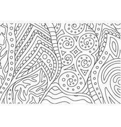 coloring book page with abstract linear pattern vector image