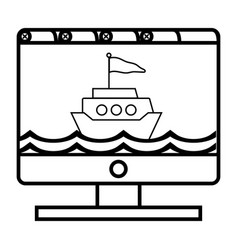 computer and boat vector image