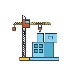 construction crane building line icon concept vector image