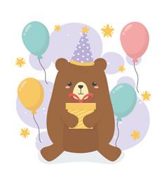 Cute bear teddy in birthday party scene vector