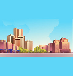 Day city landscape road vector