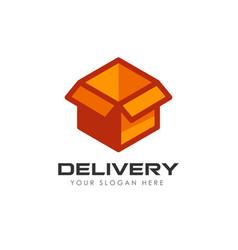 delivery box logo design courier logo design vector image