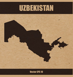 Detailed map of uzbekistan on craft paper vector