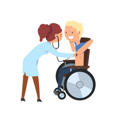 doctor with stethoscope examining disabled patient vector image