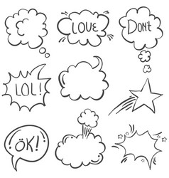 doodle of text balloon with white background vector image