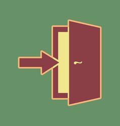 Door exit sign cordovan icon and mellow vector