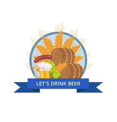 Drink beer oktoberfest logo vector