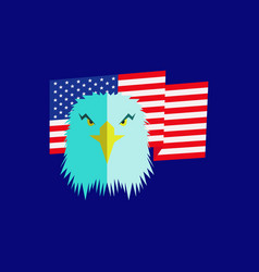 Eagle head and american flag vector