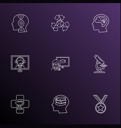 Education icons line style set with creativity vector