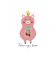 Fairy pig holding jar with stars vector