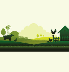 Farm with animals silhouette background vector