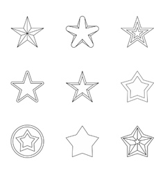 Five-pointed star icons set outline style vector