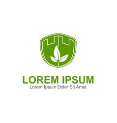 fortress leaf logo vector image
