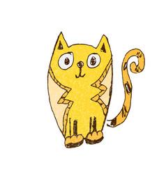 Funny cat doodle vector