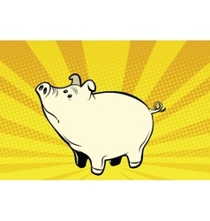 Funny cute pig pop art vector