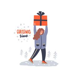 girl holding christmas gift vector image