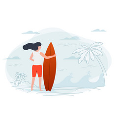 Girl on a beach holding surfboard vector