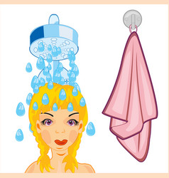 girl takes shower vector image