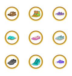 Glamour shoe icons set cartoon style vector