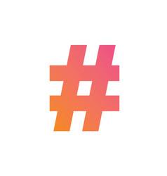 Gradient pink to orange hashtag symbol iconxd vector