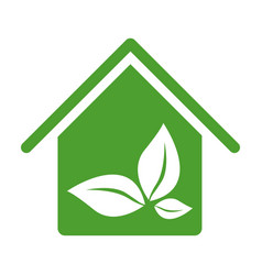 green house with leaves inside icon vector image