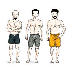 Handsome men standing wearing beach shorts people vector