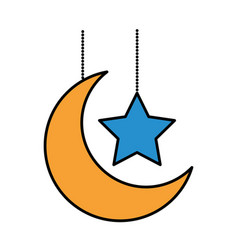 Hanging decorative moon star vector