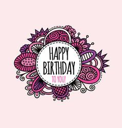 Happy birthday circle hand drawn pink vector