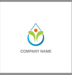 happy droplet eco logo vector image