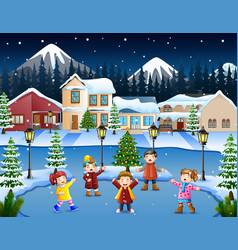 Happy kid group singing in the snowy village vector