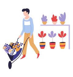 home gardening hobman with wheelbarrow vector image