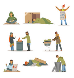 homeless people characters set unemployment men vector image