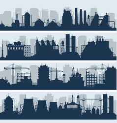 Industrial skylines modern factory and vector