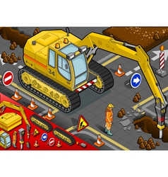Isometric Chisel Excavator in Front View vector