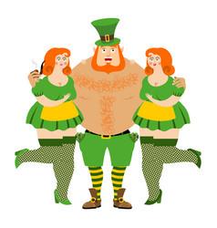 kiss me im irish leprechaun and beautiful girls vector image